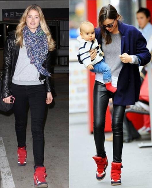 Doutzen Kroes y Miranda Kerr con zapatillas sneaker de Isabel Marant en azul,blanco y rojo