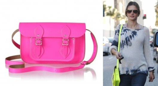 "Satchel de ""The Cambridge satchel y  Alessandra Ambrosio amb bossa de ""the  Satchel Cambridge Company"""""