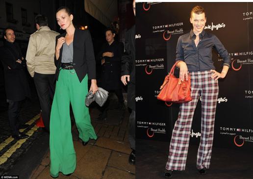 Kate Moss con pantalones pata de elefante verdes y Milla Jovovich con pantalones acampanados de cuadros