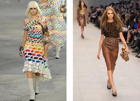 Cara Delavigne desfilando para Chanel y para Burberry