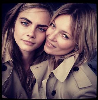 Cara Delavigne y Kate Moss para Burberry